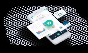 Handy mit gescannten Dokumenten zur Beleg-Digitalisierung
